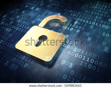 Data concept: Golden Opened Padlock on digital background, 3d render