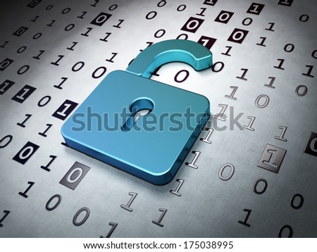Data concept:  Opened Padlock on Binary Code background, 3d render - stock photo