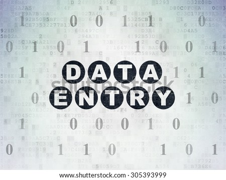 Data concept: Painted black text Data Entry on Digital Paper background with Binary Code, 3d render - stock photo