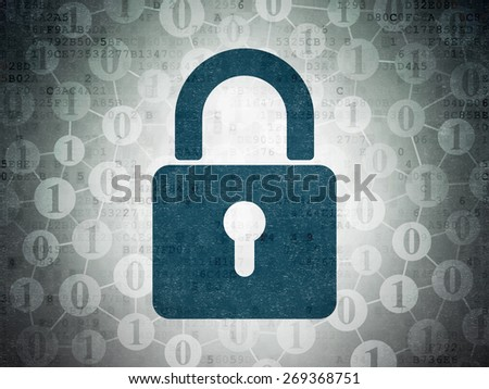Data concept: Painted blue Closed Padlock icon on Digital Paper background with Scheme Of Binary Code, 3d render