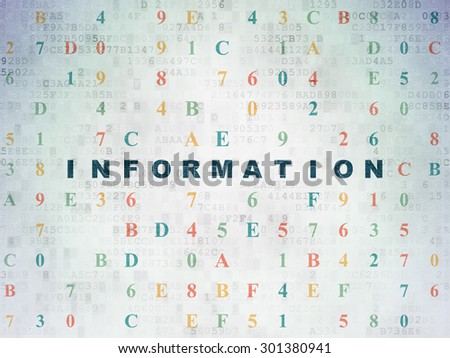 Data concept: Painted blue text Information on Digital Paper background with Hexadecimal Code, 3d render - stock photo