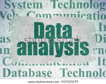 Data concept: Painted green text Data Analysis on Digital Data Paper background with   Tag Cloud - stock photo