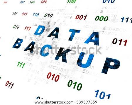 Data concept: Pixelated blue text Data Backup on Digital wall background with Binary Code