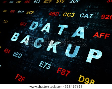 Data concept: Pixelated blue text Data Backup on Digital wall background with Hexadecimal Code