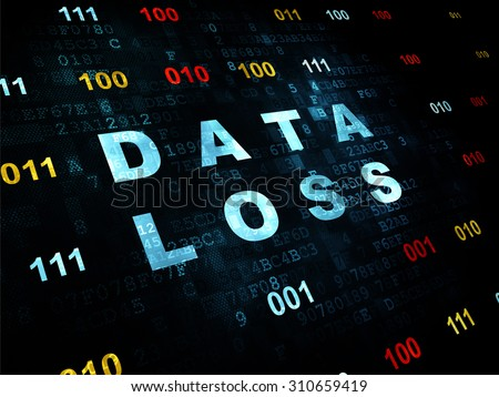 Data concept: Pixelated blue text Data Loss on Digital wall background with Binary Code