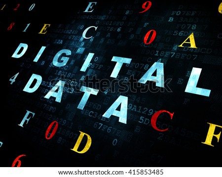 Data concept: Pixelated blue text Digital Data on Digital wall background with Hexadecimal Code - stock photo