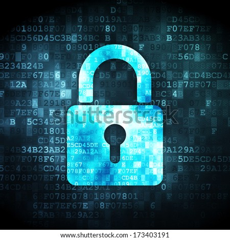 Data concept: pixelated Closed Padlock icon on digital background, 3d render - stock photo