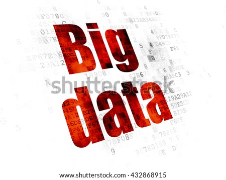 Data concept: Pixelated red text Big Data on Digital background - stock photo