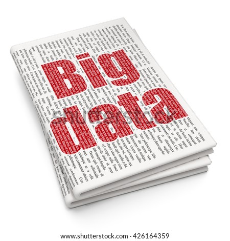 Data concept: Pixelated red text Big Data on Newspaper background, 3D rendering - stock photo