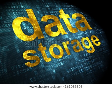Data concept: pixelated words Data Storage on digital background, 3d render - stock photo