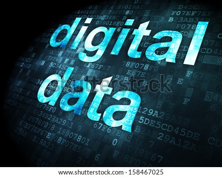 Data concept: pixelated words Digital Data on digital background, 3d render - stock photo