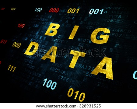 Data concept: Pixelated yellow text Big Data on Digital wall background with Binary Code - stock photo