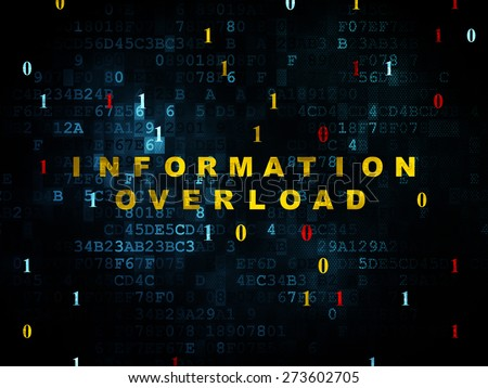Data concept: Pixelated yellow text Information Overload on Digital wall background with Binary Code, 3d render - stock photo