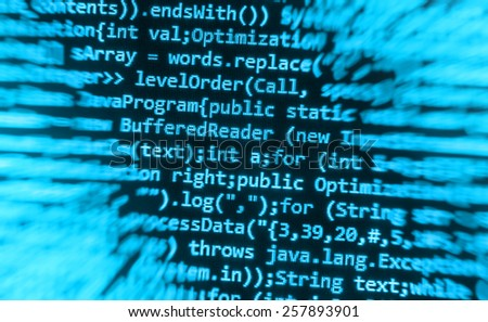 Data cyber programming background screen on monitor display. Digital technology background. Programming code abstract screen of software developer. Computer script, function. - stock photo