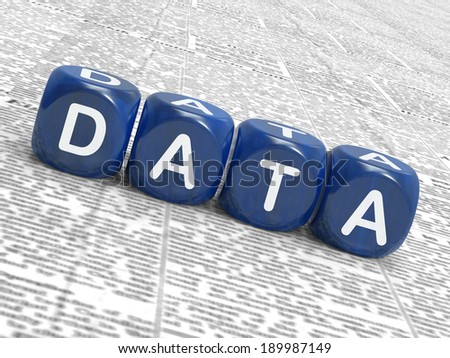 Data Dice Meaning Info Statistics And Backup - stock photo