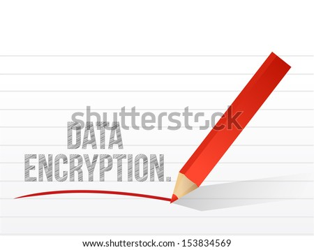 data encryption written on a white piece of notebook paper - stock photo