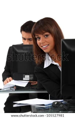 Data entry clerks - stock photo