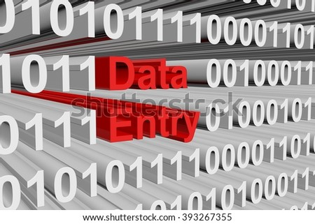 data entry is presented in the form of binary code