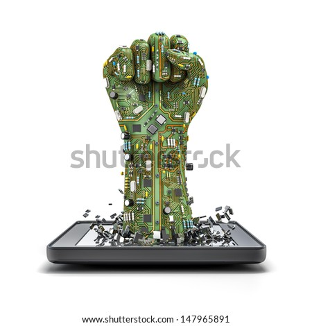 Data fist tablet - stock photo