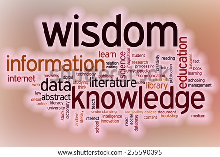 Data information knowledge wisdom word cloud concept with abstract background - stock photo