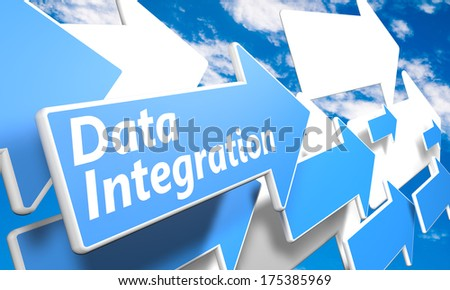 Data Integration 3d render concept with blue and white arrows flying in a blue sky with clouds - stock photo