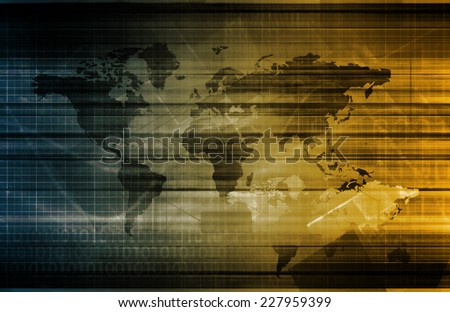 Data Integration Network on a Global Scale - stock photo