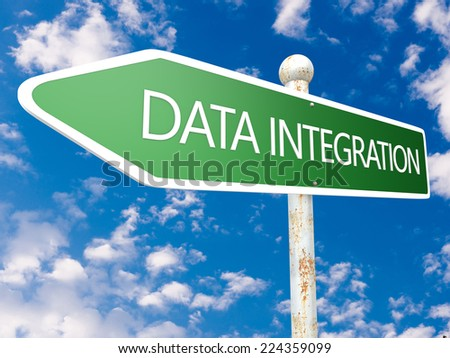 Data Integration - street sign illustration in front of blue sky with clouds. - stock photo