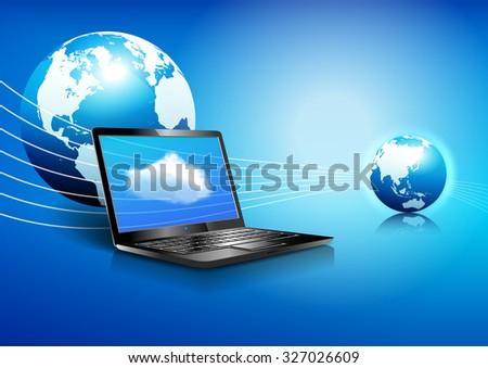 Data Laptop, Wifi, Cloud,  Communication Background - Binary Code Technology Stream with Globe - Raster Version - stock photo