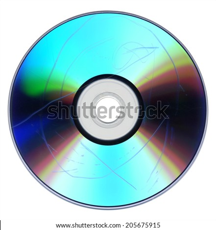 Data loss due to dust and scratch on badly damaged CD DVD optical media - stock photo