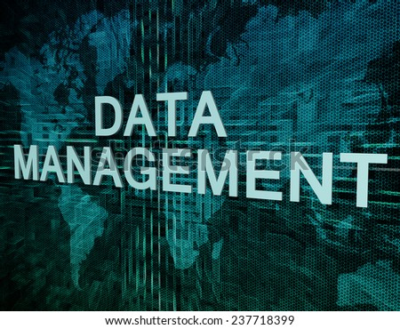 Data Management text concept on green digital world map background  - stock photo