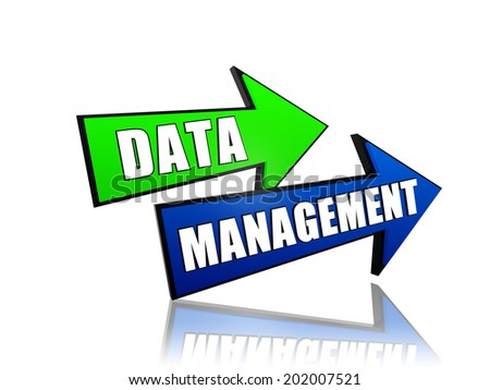data management - text in 3d arrows, business organizing concept words