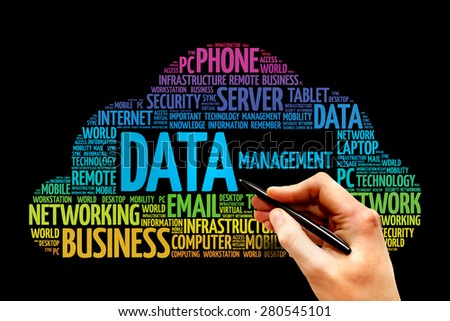 Data Management word cloud, business concept - stock photo
