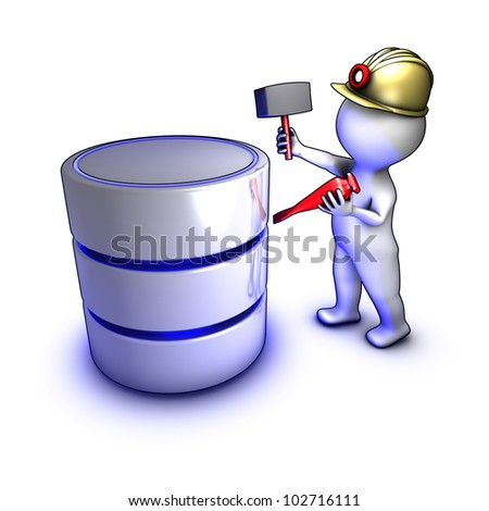 Data mining: Concept of a character extracting data from a database - stock photo