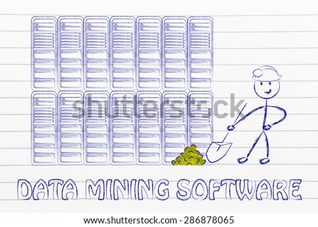 data mining software: metaphor of man extracting gold nuggets in a server room