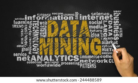 data mining word cloud with related tags - stock photo