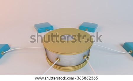 Data network with blue indicators wired to a huge server - stock photo