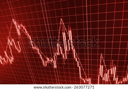 Data on live computer screen. Crisis crash recession downfall fail and loss.  Stock market graph and bar chart price display. Abstract financial background trade colorful  red abstract.  - stock photo