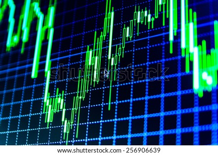 Data on live computer screen. Display of quotes pricing graph visualization. Stock market graph and bar chart price display. Abstract financial background trade colorful green, blue, red abstract.  - stock photo