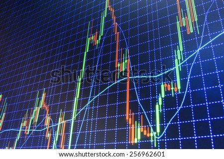 Data on live computer screen. Display of quotes pricing graph visualization. Stock market graph and bar chart price display. Abstract financial background trade colorful MORE SIMILAR IN MY GALLERY - stock photo
