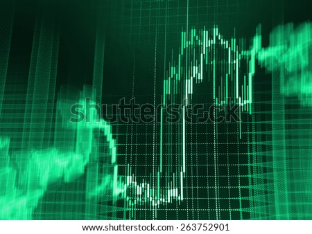 Data on live computer screen. Display of quotes pricing graph visualization. Stock market graph and bar chart price display. Abstract financial background trade colorful yellow blue pink abstract.