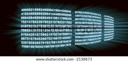 data on three video screens; data zooming out of screens - stock photo