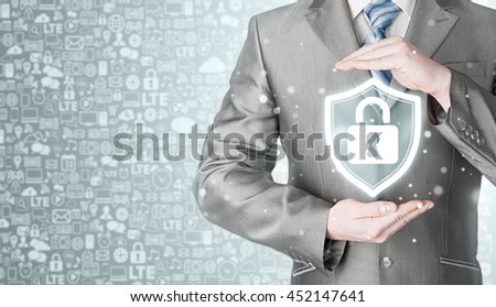 Data protection and insurance. Concept of business security, safety of information from virus, crime and attack. Internet secure system. Icons background. Communication, Internet. - stock photo