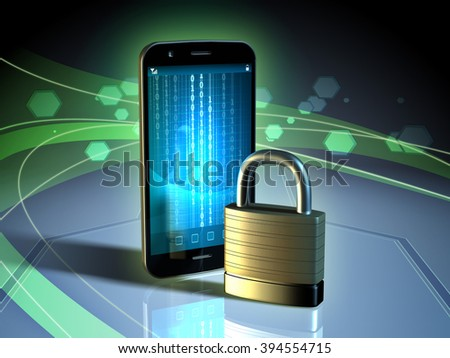 Data protection for a mobile device. Digital illustration. - stock photo