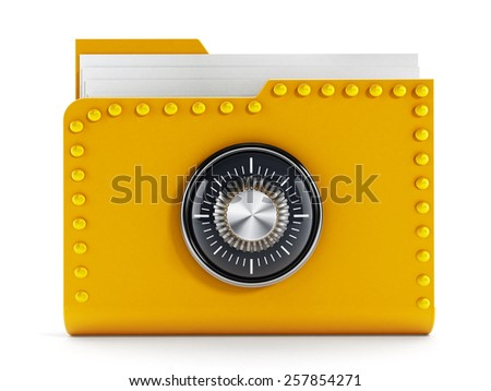 Data safety concept with folder and lock - stock photo
