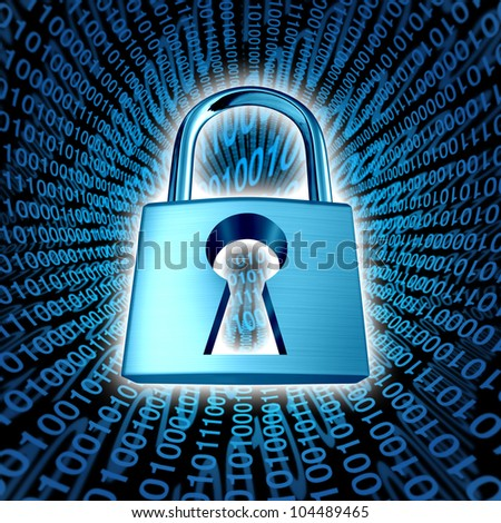 Data security and computer server network safety with a protection symbol of a lock with a keyhole on a binary code background as an icon of encryption and internet privacy technology in cyberspace. - stock photo