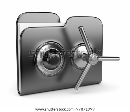 Data security concept. Black folder and lock. 3D isolated on white - stock photo