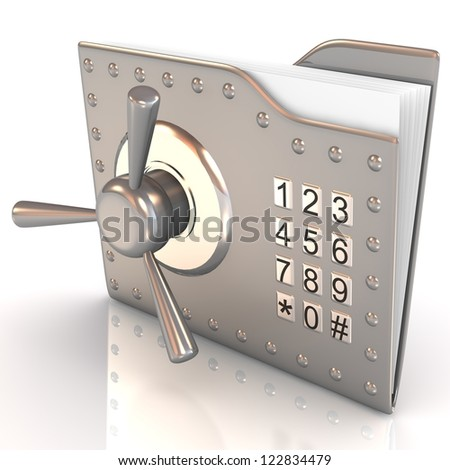 Data security concept. 3D bank file and safe lock. - stock photo
