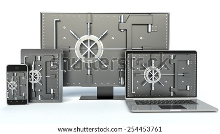 Data security concept. Laptop, smartphone, TV and combination Lock. 3D - stock photo