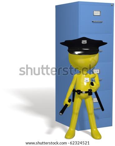 Data security cop guards protect safe files - stock photo