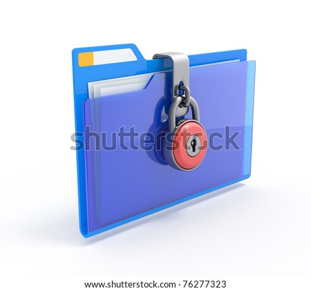Data security. 3d illustration of folders closed by a chain isolated on white.